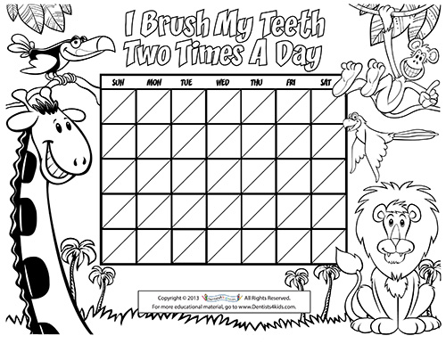 image about Printable Tooth Brushing Charts named Entertaining Things - Pediatric Dentists within Loveland, CO